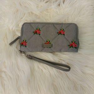 Embroidered wristlet wallet Vera Bradley denim